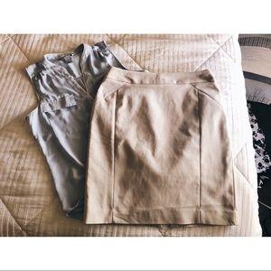 H&M khaki pencil skirt